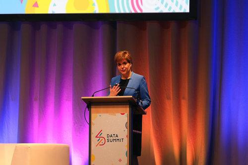 Nicola Sturgeon talking at Data Summit